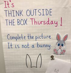 Classroom writing - It's this week's Think Outside the Box Thursday On Saturday! 😊🙌 Complete the picture One thing is for sure It's not a bunny 🐰 From a… Classroom Fun, Future Classroom, Teaching Activities, Teaching Resources, Beginning Of School, Middle School, Morning Messages, Thinking Outside The Box, Critical Thinking