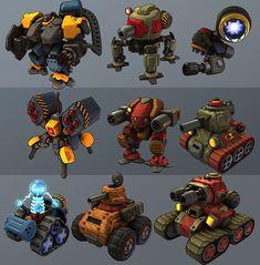 Mobile projects by Michal Orkisz, via Behance Reads well, distinct robot types. Robot Concept Art, Game Concept, Character Concept, Character Design, Prop Design, Robot Design, Game Design, Arte Robot, Robot Art