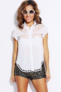 #1015store.com #fashion #style bright white laser cut out backless chiffon blouse-$15.00
