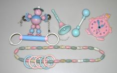 Vintage Baby Rattles Plastic Wood Crib Toys Lot Pink Blue