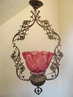 Large Victorian Metal Hanging Lamp w/ Cranberry Pink Thumbprint Glass Shade