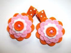 PINK ORANGE WHITE Summer Wool Felt Flower Hair Clips Clippies BAbies Toddlers Girls