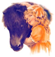 "Bessie Pease Gutmann, Illustrator, ""Rolo"", circa unknown.  A girl and her horse."