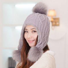 Oversized hairball knit bomber hat for women thick fleece winter hats