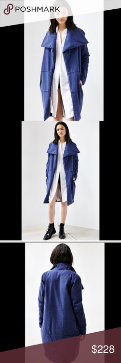 "UO One Teaspoon denim blue Oversized Filled Coat S UO One Teaspoon denim blue Oversized Cozy Collar Open Front Filled Coat  side pockets *  filled cotton blend lining New Without Tags  *  Size: Small retail price:  $240.00  100% cotton 80% poly * 20% cotton fill / 100% cotton lining  40"" around bust 40"" around waist 40"" long Urban Outfitters Jackets & Coats"