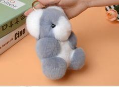 Nyúlszőr Koala táskadísz szürke