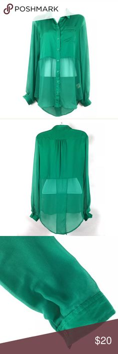 """Free People Chiffon Sheer Button Shirt Green XS Free People Women's Size XS Button Up Shirt. This is a super sexy peek-a-boo Top with Sheer Sleeves and Sheer Bodice starting a little below the bra line. If that isn't cute enough there is a pleat in the back that reveals bare skin! This would be adorable paired with leggings or Jeans. Gorgeous Green color! Gently worn condition with no rips or stains. Please see measurements and pictures for details.   Underarm to Underarm 19.5""""  Front Length…"""