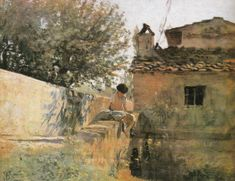 By Telemaco Signorini.The Macchiaioli broke with the Italian schools, painting outdoors to capture natural light, shade, and color relating them to the French Impressionists who came to prominence later and to the Barbizon school. Barbizon School, Italian Paintings, Building Painting, Seascape Art, Italian Artist, Contemporary Landscape, Manet, Landscape Paintings, Oil Paintings