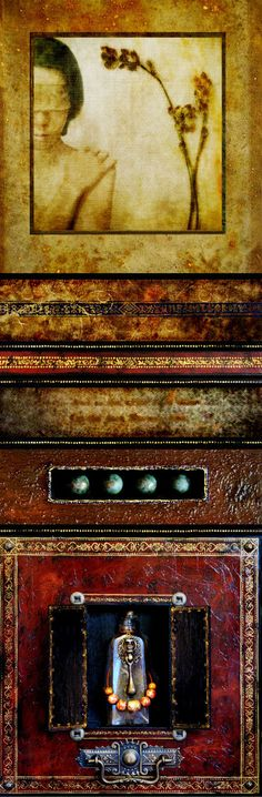 """Empathy"" Mixed media assemblage, wax on panel, 36 x 12 x 2 in. by Yuko Ishii. ""I am fascinated with the idea of secrets, and a wooden box with shut doors is one of the sacred secrets."" ~Ishii"