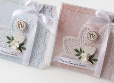 First Communion Cards, Holy Communion Invitations, First Holy Communion, Scrapbook Cards, Scrapbooking, Embossed Cards, Craft Party, Kids Cards, Cute Cards