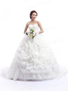 ウェディングドレス プリンセス 人気なデザイン格安 ハートネック 豪華なロングトレーン H2lbsw0040g2