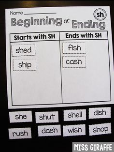 SH words that start with SH or end with SH sort and so many more digraphs ideas Digraphs Worksheets, Blends Worksheets, Phonics Lesson Plans, Phonics Activities, First Grade Phonics, First Grade Reading, English Phonics, English Grammar, Teaching English