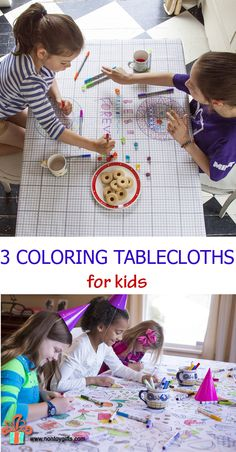Three coloring tablecloths for kids that can be used for snack time, dinner time or parties. Turn them into a fun project to share with friends or an activity for a family night. Color with washable markers, wash and use again. Brilliant! - at Non Toy Gifts