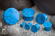 """Mayan flare stone plugs (Synthetic Turquoise)  Double flare  Price (US): $19.95 thru $75.95 /pair  Gauge: 8g thru 1"""""""
