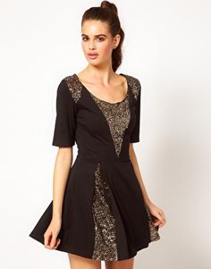 Hunt No More 'Sugar Magnolia' Sequin Insert Skater Dress