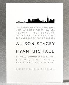City-themed wedding invites for those NYC couples!