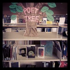 The Poet Tree - a book display for poetry month at the Peter Gzowski Branch, Georgina Public LIbraries.