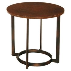 Round metal end table with an aged copper-finished top.     Product: End tableConstruction Material: Metal and wo...