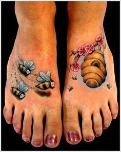 Queen Bee Tattoo Designs: 3d Bee Tattoo Designs For Women On Foot ~ Cvcaz Tattoo Art Ideas ~ Tattoo Design Inspiration