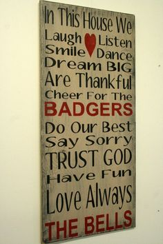 Family Rules Sign Badgers Personalized Sign Sports Team Sign