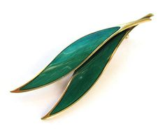 Vintage N M Thune green enamel leaf brooch, Norway sterling silver + gold wash vermeil leaves pin, Scandinavian silver Norwegian design. https://www.etsy.com/listing/264470224/vintage-n-m-thune-green-enamel-leaf
