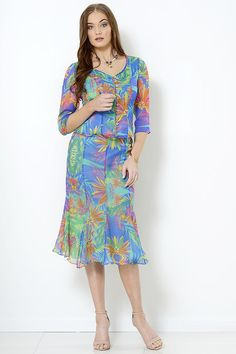 Lani silk chiffon top and skirt with tropical print suitable for destination weddings, mother of the bride, summer racing fashion, cruising fashion at Pia du Pradal Park Road and Brisbane Arcade, Brisbane City