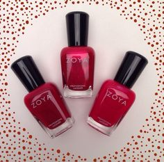 Painting the town red for fall with Zoya in Rekha, Elisa, and Livingston! Mani Pedi, Manicure And Pedicure, Tough As Nails, Red Nail Polish, Shades Of Red, Nail Colors, My Nails, Perfume Bottles, Nail Art