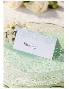 Tischkarte Hochzeit Spitze mint Vintage