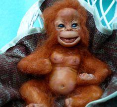 Chimp, Chimpanzee,Monkey, Ape, Orangutan OOAK,. $90.00, via Etsy.