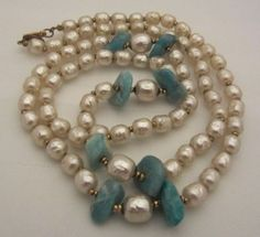 MIRIAM HASKELL Niki Baroque Pearls & Turquoise Stones Opera Length Necklace /225