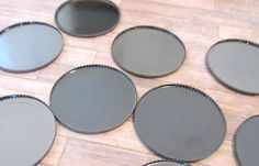 100 Pieces Gunmetal Toned Round Thin Bezels  by theglassconnection, $20.00