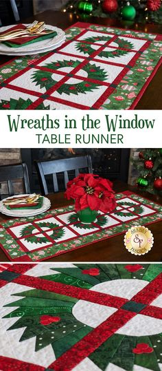 Wreaths In The Window Table Runner