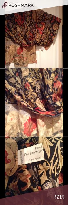 Silk Scarf Metropolitan Museum Of Art Purchased at the metropolitan museum of art gorgeous earth tone colors bring out the best in this 100% silk scarf. E cel lent condition. Used one time. Metropolitan Museum Of Art Accessories Scarves & Wraps