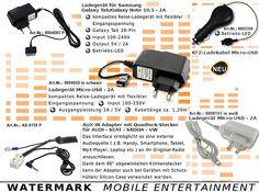 Ladekabel, AUX-Kabel, Ladegeräte