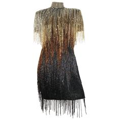 Vintage and Designer Evening Dresses and Gowns - For Sale at Beaded Fringe Dress, Beaded Flapper Dress, Flapper Dresses, Sequin Evening Dresses, Designer Evening Dresses, Evening Gowns, Sequin Dress, Kpop Fashion Outfits, Stage Outfits