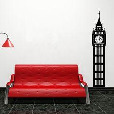 Vinilo decorativo del Big Ben, ideal para dar un toque londinense.