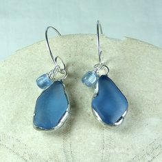 Blue Jean Sea Glass Earrings, nautical jewelry, beach wedding, beach glass jewelry $24