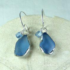 Blue Jean Sea Glass Earrings, nautical jewelry, beach wedding, beach glass jewelry $24