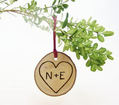 Personalized Wooden Ornament - wedding favor - rustic holiday  -Get the bride & groom's initials or get the year engraved?