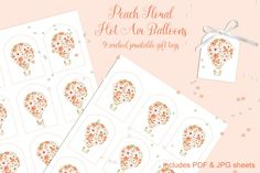 9 Printable Gift Tags: Peach Floral Hot Air Balloons By Marcy Coate