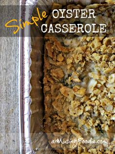 Simple Oyster Casserole - this easy Thanksgiving (or any holiday) side has graced my table for over a decade! Simple Oyster Casserole - this easy Thanksgiving (or any holiday) side has graced my table for over a decade! Oyster Casserole Recipe, Casserole Dishes, Casserole Recipes, Fish Recipes, Seafood Recipes, Cooking Recipes, Recipies, Salmon Recipes, Yummy Recipes