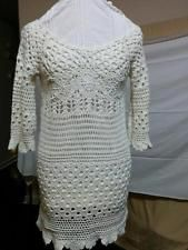 Lucky Brand Size S Ivory Crochet Lace Sweater Open Weave 100% Cotton Wide Neck  | eBay