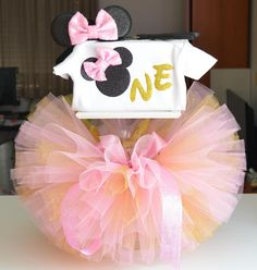 minnie mouse first birthday outfit one pink and gold