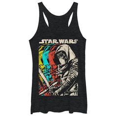 Why settle for one villain when you can get four versions of Kylo Ren lined up on the Star Wars Episode VII Kylo Ren Copies Heather Black Racerback Tank Top? An edgy distressed print on the front of this epic black Star Wars Episode VII shirt shows K