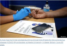 UK's home finger-prick antibody test passes first clinical trial - COVID-19 Lockdown | ProfMoosa The Daily Telegraph, Trials, Clinic, Period, Finger, University, Money, News, Silver