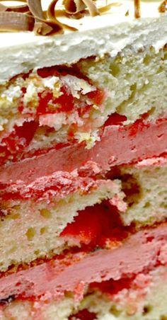 Cherry Garcia Cake - Valentine's Day Single Serve Desserts, Desserts For A Crowd, Winter Desserts, Great Desserts, Delicious Desserts, Fudge Recipes, Best Dessert Recipes, Frosting Recipes, Top Recipes