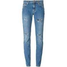 Saint Laurent distressed slim jeans found on Polyvore featuring jeans, pants, trousers, bottoms, saint laurent, blue, distressed jeans, ripped blue jeans, zipper jeans and blue jeans
