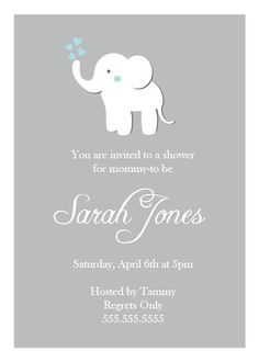 Baby Shower Elephant Invitation by NestedExpressions on Etsy, $20