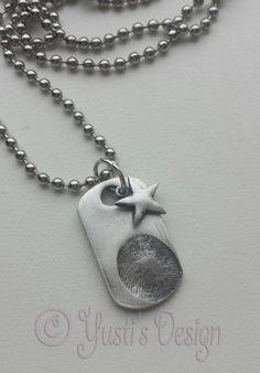 Zilverklei hanger met vingerafdruk | Silver clay fingerprint tag