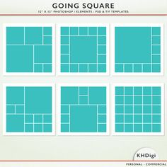 "Digital Scrapbook Templates - 12"" x  12"" PSD TIF - ""Going Square"" - Photoshop & Elements - Personal and Commercial G9022"